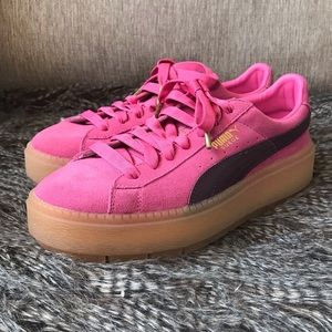 Puma Suede Trace Platform Sneakers Womens Size 8.5